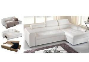 Vinyl Sectional W Storage Chaise Pull Out Bed White Or Brown