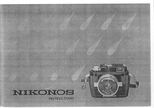 Nikonos Instruction Manual photocopy Underwater Photography with Nikonos