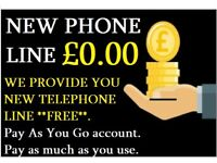 NEW PHONE LINE FOR HOME OR OFFICE?, WITH £0 LINE RENTAL. Its Pay As You Go.