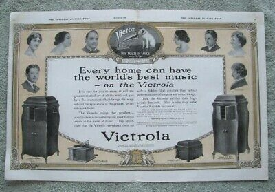 0635 VTG 1918 Victrola Phonograph Double Page Ad Artists Pictured