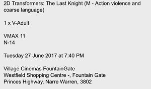 Transformers Movie Tickets x 2 - Fountain Gate VMax TONIGHT Lynbrook Casey Area Preview