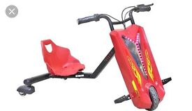 Kids Bluetooth Electric Rechargable Drift Bike with flashing LED lights available in red/black/blue