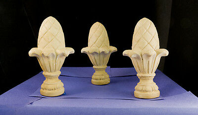 (TERRA COTTA PINEAPPLE FINIALS:SET OF SIX FOR YOUR DRAPES/CURTAINS OR YOUR GARDEN)
