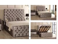 Hydrolic Gas Lift Up system Beds Available too== Brand New Double Crushed Velvet Chesterfield Bed