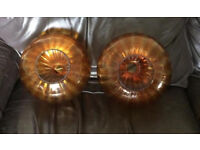 Vintage/antique amber glass lampshades- beautiful x 2