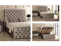 🔴🔵PREMIUM QUALITY🔵NEW CHESTERFIELD STORAGE CRUSHED VELVET BED FRAME SILVER, BLACK AND CREAM
