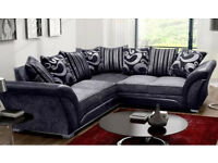 Large 5 Seater Faux Leather Corner Sofa Black Grey Silver Chenille Fabric Settee used