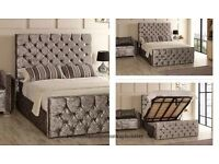 Brand New SINGLE / Double / King Crushed Velvet Chesterfield Bed With Storage & Mattress