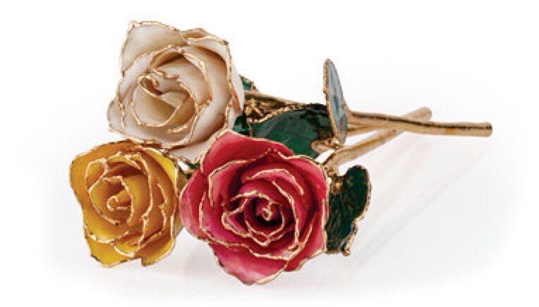 "Set of 3 24K GOLD DIPPED ROSES Real Long Stem Roses Many Colors 12"" Gift Box"
