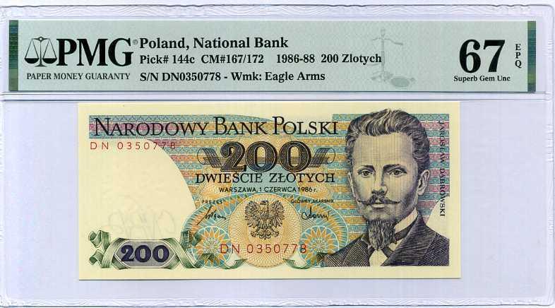 POLAND 200 ZLOTYCH 1986 P 144 SUPERB GEM UNC PMG 67 EPQ HIGH NEW LABEL