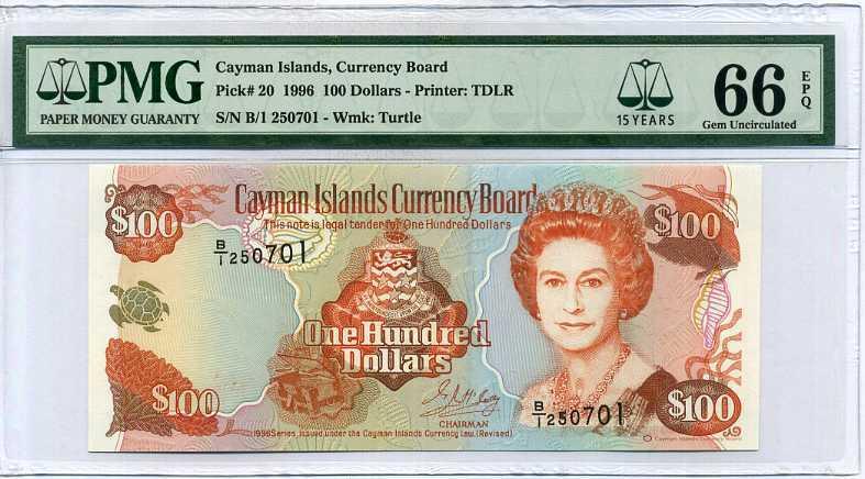 CAYMAN ISLANDS 100 DOLLARS 1996 P 20 15th LABEL GEM UNC PMG 66 EPQ
