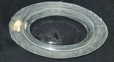 Val St Lambert Belgium Frosted Glass Pin Tray W Foil Sticker