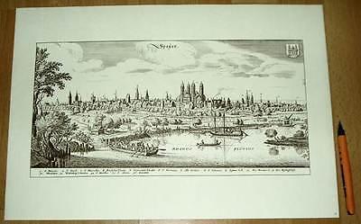 Speyer alte Ansicht Merian Druck Stich 1650 (schw)