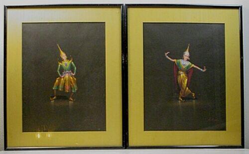 PAIR VINTAGE THAI LAKHON CHAROEN GOUACHE ON PAPER 'THAI DANCER' PAINTINGS