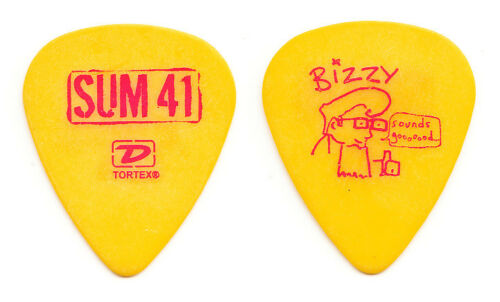 Sum 41 Deryck Whibley Bizzy D Yellow Guitar Pick - 2005 Tour