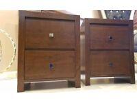 Next Dark wood Bedside Cabinets x 2