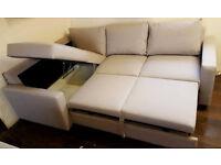Brand New Fabric Left Hand Corner Sofa Bed - Natural