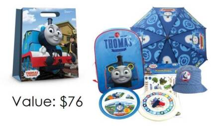 Thomas Showbag (Backpack,umbrella,plate,wooden clock,hat) Redcliffe Belmont Area Preview