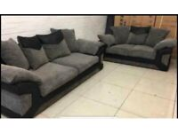 Ex Display 3+2 Grey & Black Fabric Sofas Can Deliver Anywhere Same Day