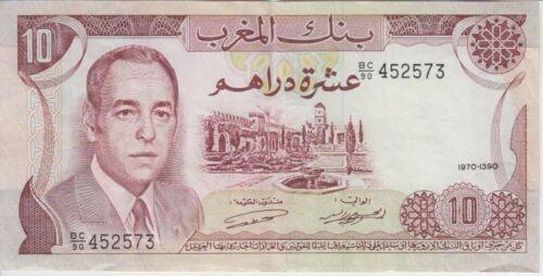 Morocco Banknote P57a 10 Dirhams 1970-1390, VF+