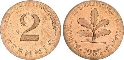 2 Pfennig 1985 J Fehlprägung auf zu kleinem zu dünnem Schrötling, 1,74g vz-st