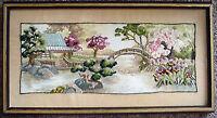 "Framed Needle Point Oriental Bridge Cherry Blossom Iris' 21"" W"