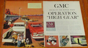 LARGE 1959 GMC TRUCKS AD - PICKUP STEP VAN SEMI TRACTOR - ANONCE