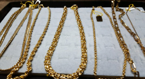 CHAINS, BRACELETS, RINGS, PENDENTS, GOLD FILLED JEWELRY .
