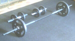 STEEL WEIGHTS WITH BARBELL AND DUMBBELLS