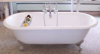 Cast iron claw foot bathtub for bathroom renovation