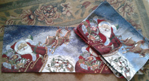 Santa Claus Tapestry Christmas Runner With 4 Matching Placemats