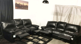 •• New ex display Dfs real leather black 3+3 seater sofas