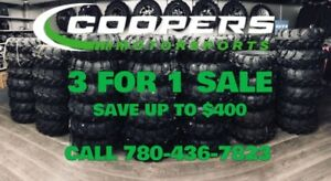 3 for 1 sale on all tires and rimes, call Coopers Motorsports