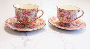 """TWO DEMI-TASSE Cups & Saucers ROYAL WINTON """"English Rose"""""""
