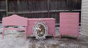 GIRL'S FRENCH PROVINCIAL 4 PIECE BEDROOM SET - COTTON CANDY PINK