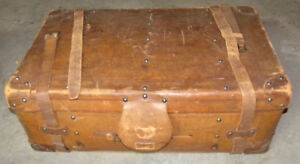 "Antique LEATHER TRUNK 34x18x12"" VERY HEAVY and THICK leather."
