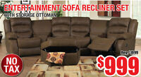 Entertainment Recliner Sofa Set, $999 Tax Included!