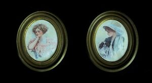 Pair of Antique Oval Framed Pictures