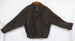 Danier Brown Suede Jacket Men's size Large, fits as XL  YES, it