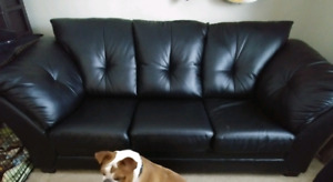 Leather sofa couch - queen size