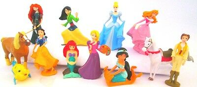 *DISNEY PRINCESS 12 Figure Set PVC TOY Cake Topper MULAN Merida RAPUNZEL - Disney Princess Figurines