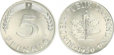 5 Pfennig Bundesrepublik 1950 F Materialprobe in Cu-Ni prfr.- st