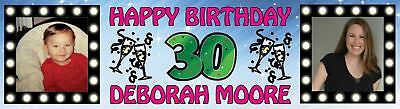 Birthday Banners With Photo Personalized (Personalized Birthday Party Banner with photo 16th 18th 21st 30th 40th 50th)