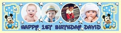 Large 1st (First) Birthday Party Banner Poster Personalised with photo & text