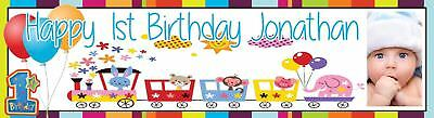 Large First (1st) Birthday Party Banner Personalized with photos - 4 Foot long