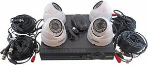 New - COMPLETE SECURITY CAMERA SYSTEM WITH 4 CAMERAS, DVR AND CABLE - READY TO INSTALL AND PROTECT YOUR PROPERTY