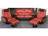 Red and Black leather Designer sofa set WE DELIVER UK WIDE