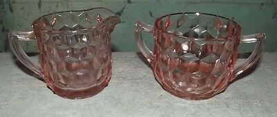 Cubist pink creamer and open sugar by Jeannette glass