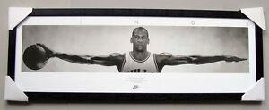 Michael Jordan Wings framed poster Ready to Hang Black timber  NBA CHICAGO BULLS