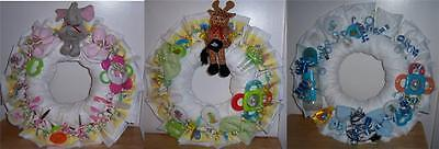 Diaper Wreaths (Baby Shower Safari Diaper Wreath, Pink, Blue, or)